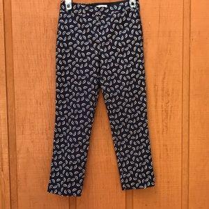 NWOT Boden Navy Blue Printed Slacks Work Pants 8